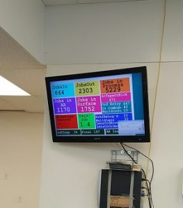 The screen in Walman Optical's lab listing the current number of jobs in process.