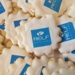 Relf Optical logo on sugar cookies.