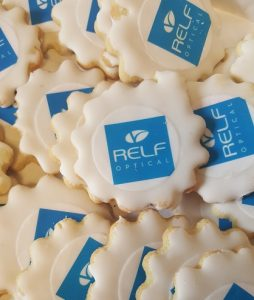 Relf Optical logo on sugar cookies.