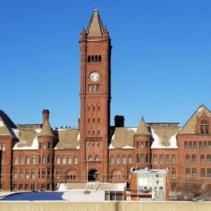 Duluth, Minnesota's Central High School's clock tower.