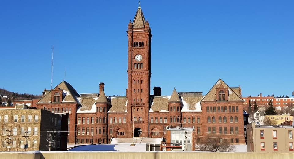 Duluth, Minnesota's Central High School's clock tower.