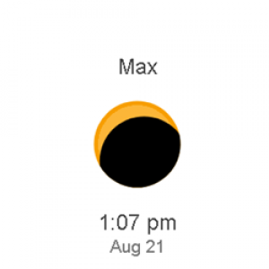 Phases and local time of the eclipse shows it starting at 11:46 AM, at its max at 1:07 PM, and ending at 2:27 PM.