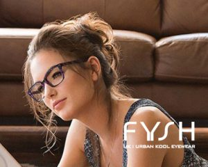 A woman models a pair of Fysh designer eyeglasses.