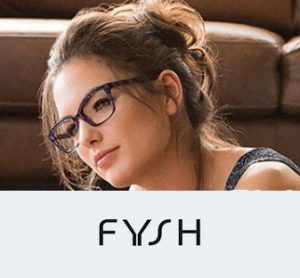 A woman models a pair of Fysh designer eyeglasses.