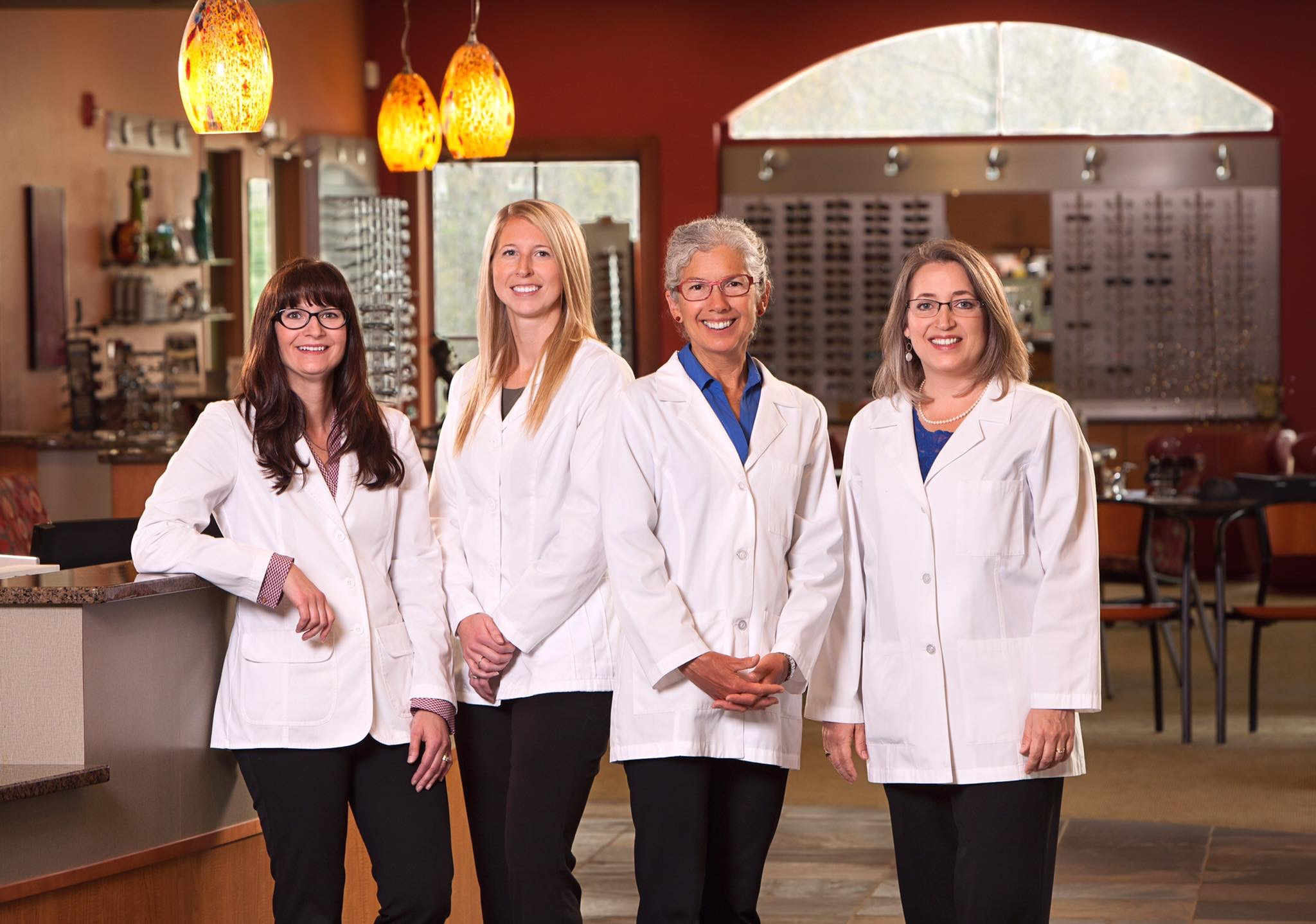 The eye doctors of Relf EyeCare; Dr. Bechthold, Dr. Strom, Dr. Relf, and Dr. Graham.