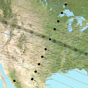 A map of the U.S. shows the map of the solar eclipse and the percentage of coverage.