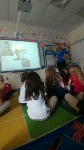 Doctor Strom talks about proper eyeware with students at DECS.