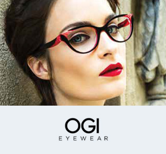 A woman models a pair of red and black OGI fashion eyeglasses.