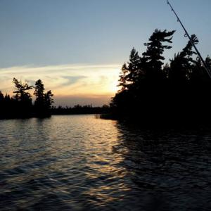 Fishing at sundown.