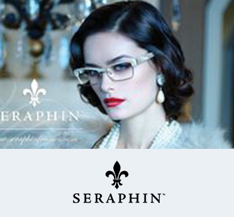 A woman models a pair Seraphine fashion eyewear.