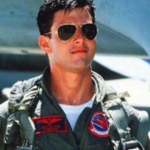 Tom Cruise in Aviator shade in the movie Top Gun.