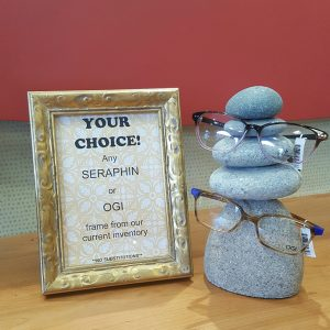 Your choice! Any Seraphin or OGI frame from our current inventory. No substitutions.